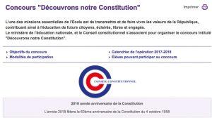 Rappel du calendrier du concours «Découvrons notre Constitution».